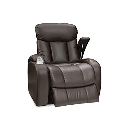 Seatcraft Sausalito Leather Gel Manual Home Theater Recliner With In Arm  Storage, Brown