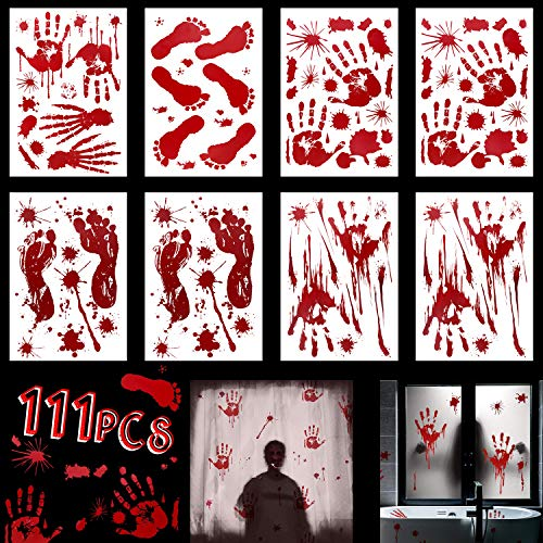 Decoracion Halloween Zombie (Tinabless Halloween Decorations Window Decals Wall Stickers Decor, Bloody Handprint Footprint for Bathroom Halloween Zombie Vampire Party Decorations Supplies, 8 Sheets(111)