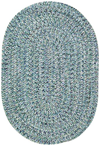 Capel Rugs Sea Pottery Oval Braided Area Rug, 3 x 5, Blue