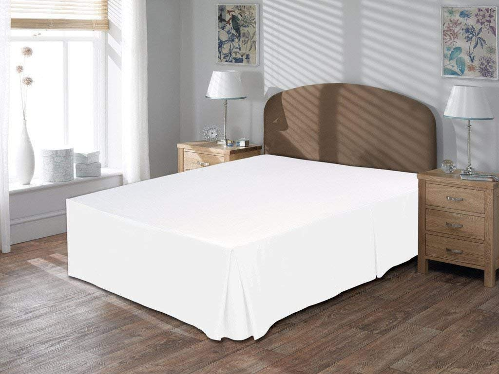 MP Linen Queen Size Split Corner Bed Skirt 18'' Inch Drop - 100% Egyptian Cotton Luxurious & Hypoallergenic Easy to Wash Wrinkle, (White, Queen Size Bed Skirt with 18 inch drop)