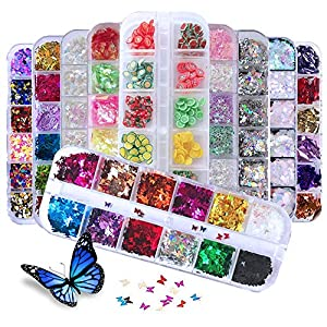 EBANKU 10Boxes Nail Glitter Sequins, Holographic Butterfly Round Star Fruits Iridescent Confetti Nail Art Glitter Laser…
