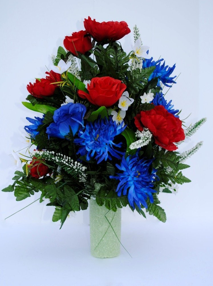 Spring-Cemetery-Vase-Filler-with-Red-and-Blue-Roses-White-accent-Flowers-and-Blue-Spider-Lilies-for-Mothers-Day-Memorial-Day-July-4th-or-Fathers-Day