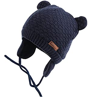 698ac3c46ad Chihom Infant Baby Boys Girls Knitted Hat with Earflaps Cute Beanie Skull  Cap Spring Travel Cuff