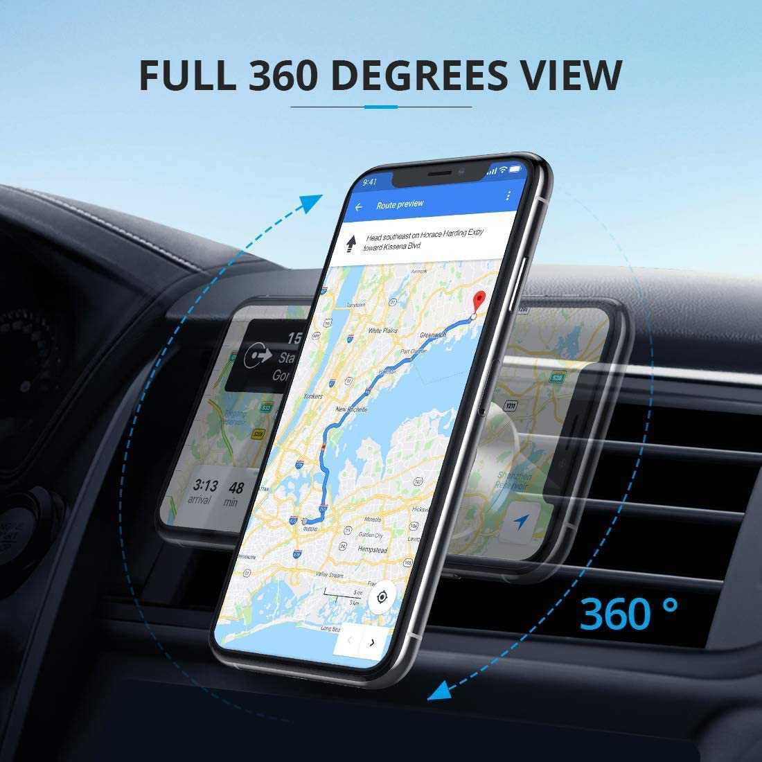 Newest 2020 Magnet Phone Holder with Charging Cable Holder Compatible with All Cell Phones and Mini Tablet Strong Mangetic Car Phone Mount