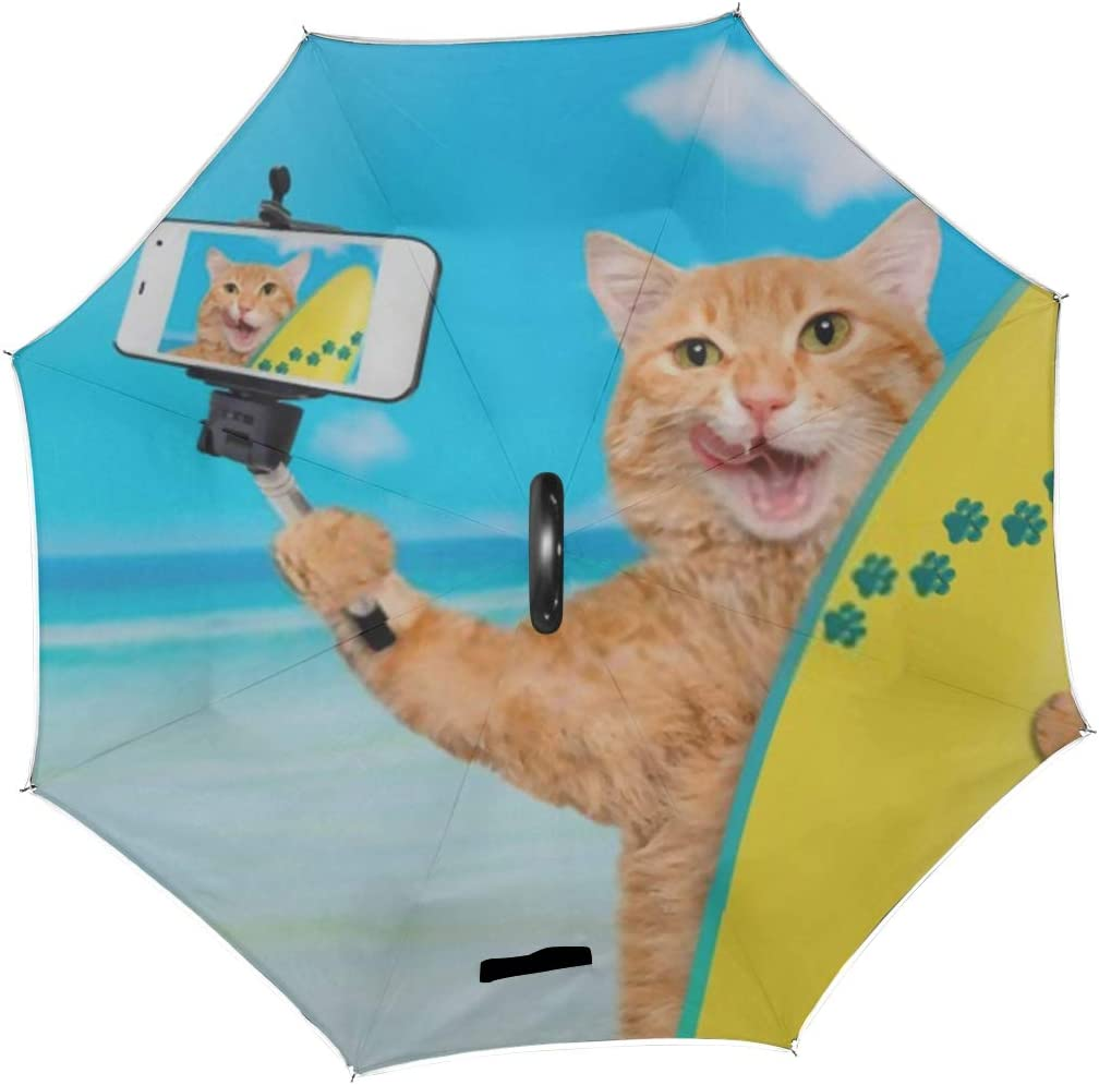 Double Layer Inverted Inverted Umbrella Is Light And Sturdy Beautiful Surfer Cat On Beach Taking Reverse Umbrella And Windproof Umbrella Edge Night R