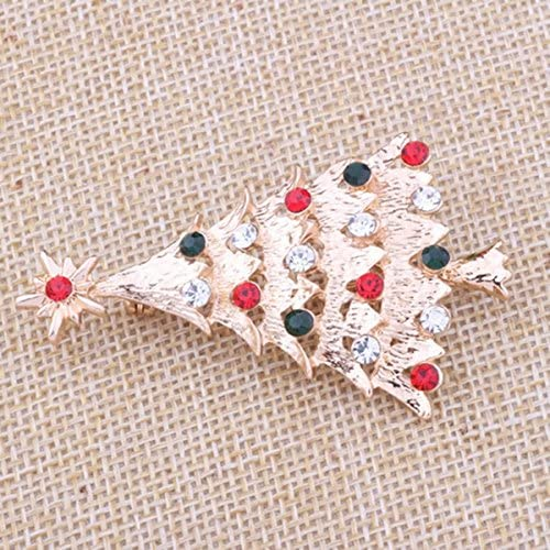 Vaorwne Broche de Noel Bijoux de Costume de Conception de Sapin de Noel Broche de Noel de Diamant Artificiel en Cristal Scintillant pour Les Filles