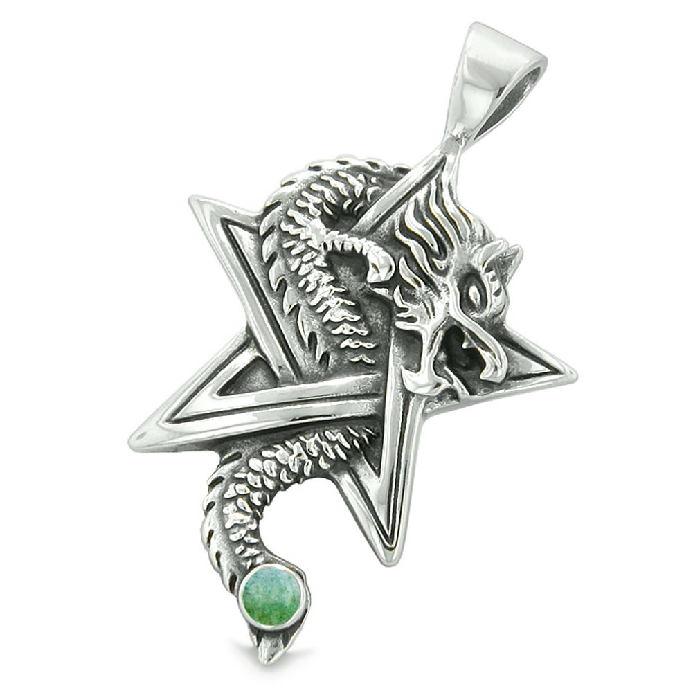 Courage Dragon Magical Protection Powers Star Pentacle Amulet Green Quartz Pendant 22 Inch Necklace