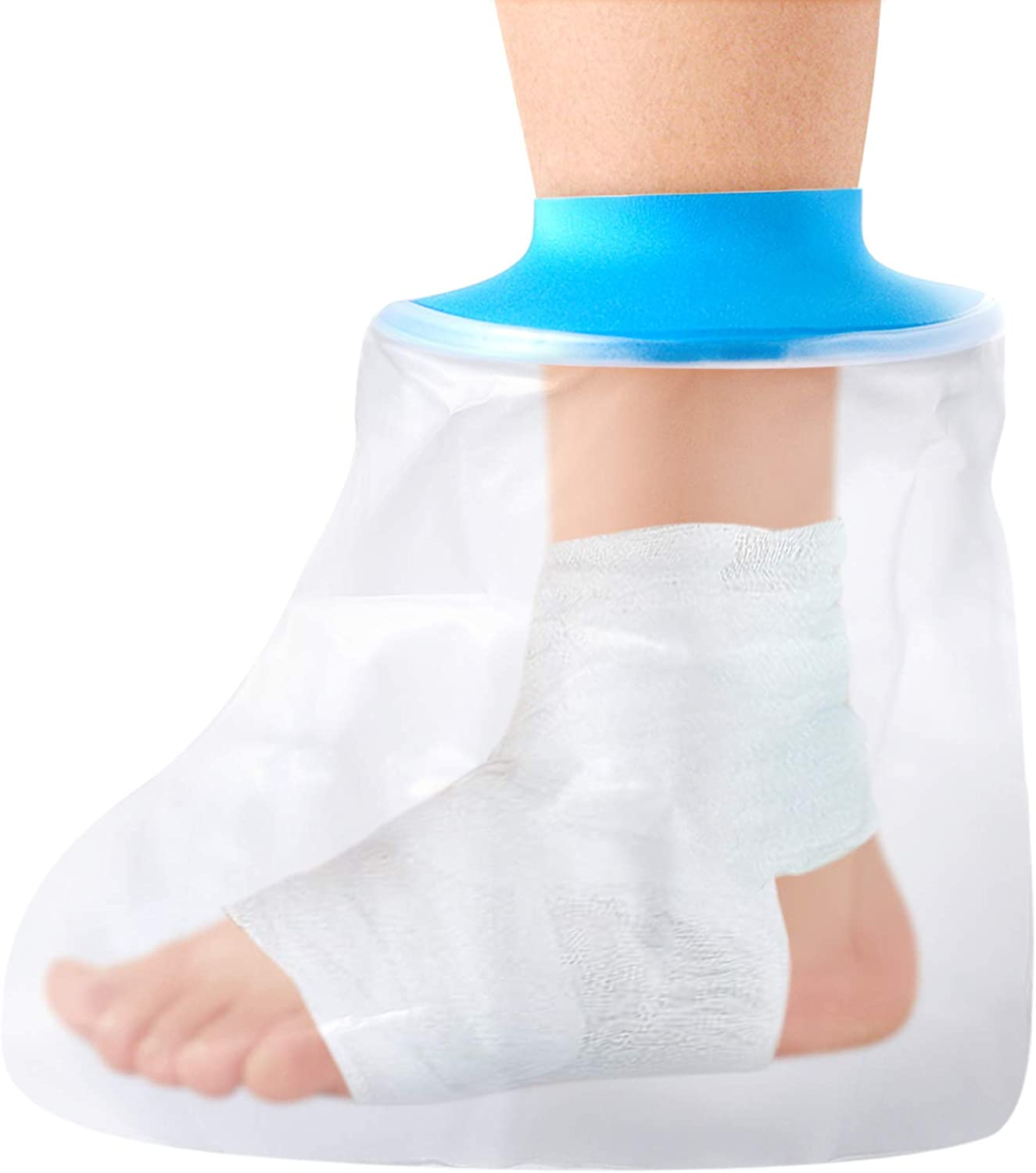 Waterproof Cast Cover Foot, Wound Cover Protector for Shower Bath, Soft Comfortable Watertight Seal to Keep Wounds Dry, Ankle Wound and Burns Adult Reusable(Foot)