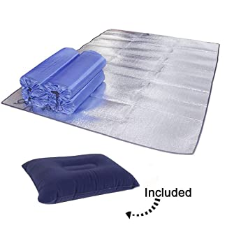 Camping Mylar Blanket, Waterproof Emergency Thermal Mat Lightweight Reflective Tarp Aluminum Foil Picnic Pad for Sleeping, Trip, Hiking, Camping, ...