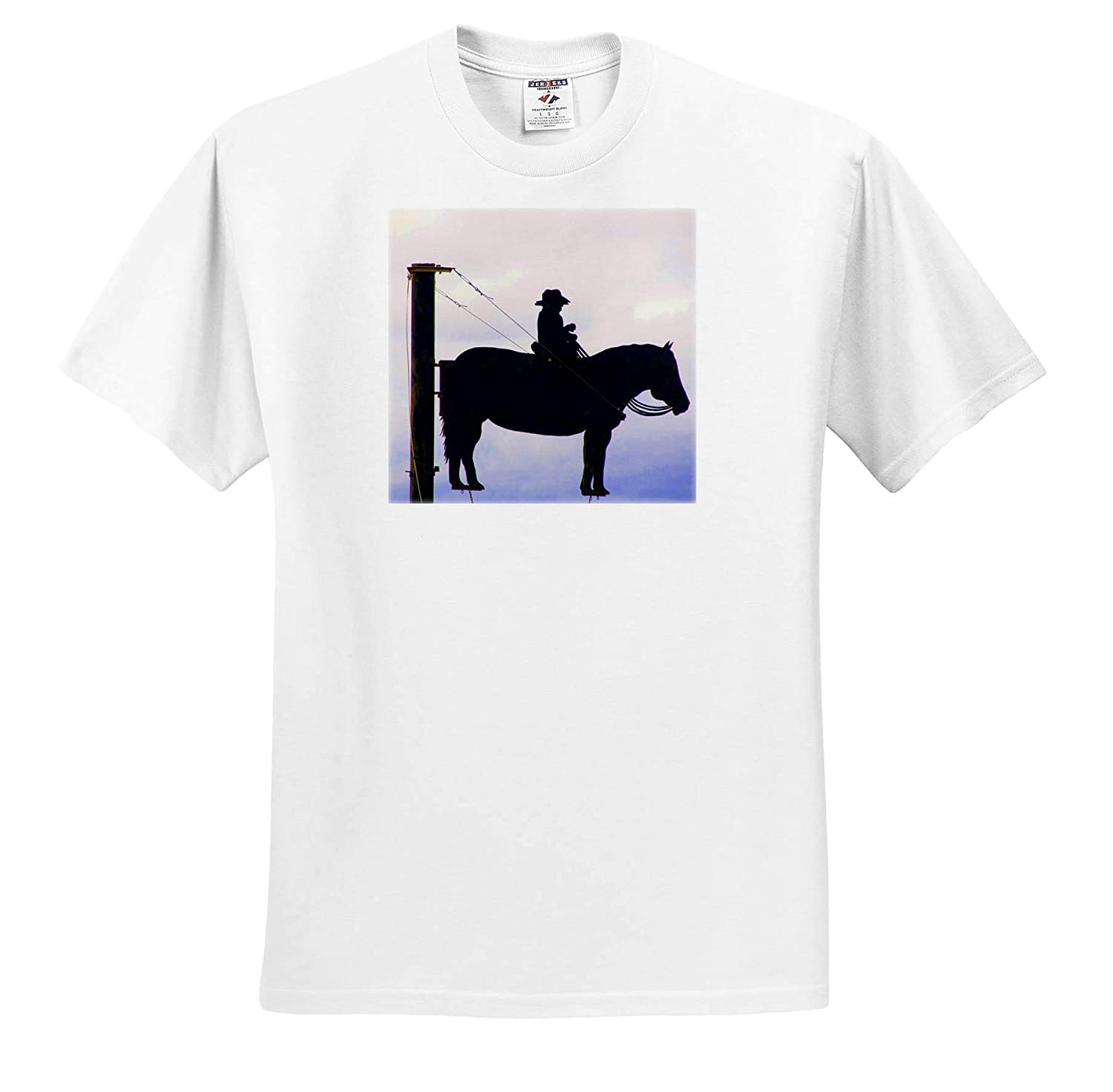 Silhouette Cowboy on Horse T-Shirts A Silhouette of a Cowboy on a Horse in Black 3dRose Jos Fauxtographee