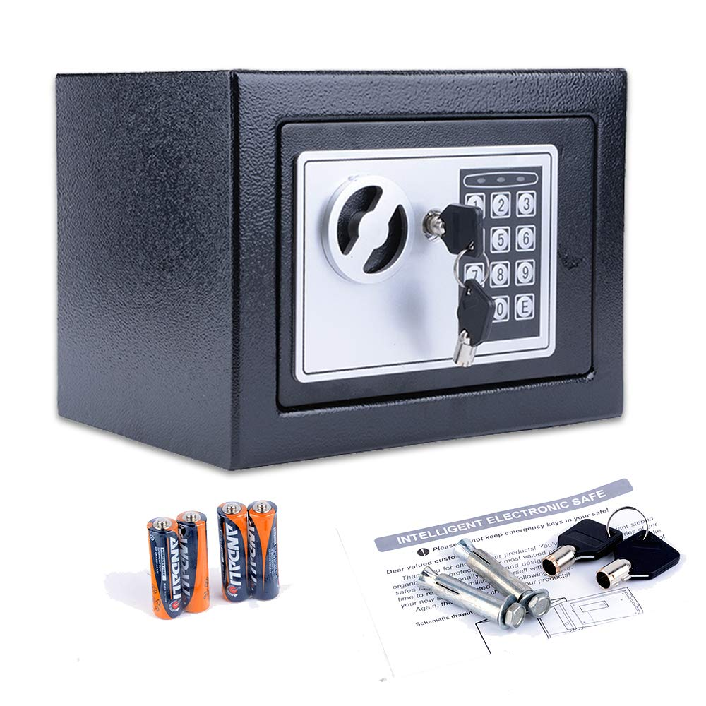 Fireproof Home Digital Security Safe Box Wall with Lock for Jewellery Money Valuables (Black)