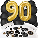 Adult 90th Birthday - Gold - Confetti and Balloon Birthday Party Decorations - Combo Kit