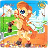 Efaster Wooden Animal Pattern Puzzle Toy for Children Infant Early Educational Jigsaw Puzzle (Horse)