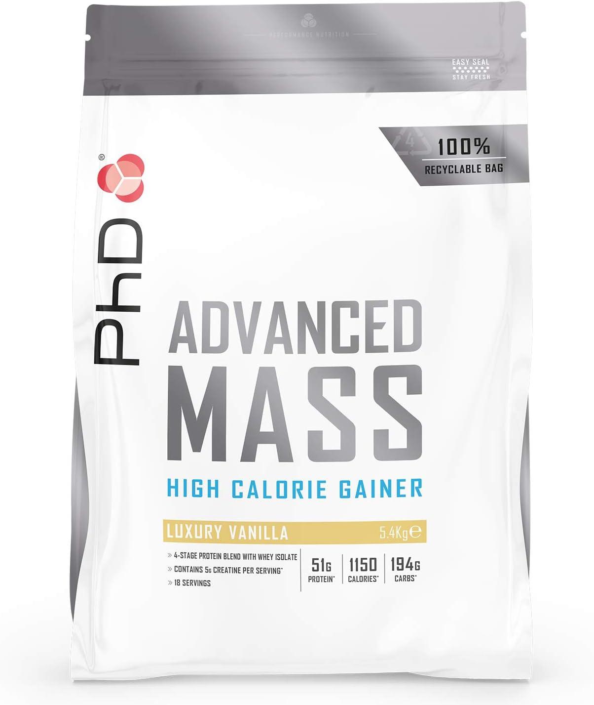 PhD Nutrition Advanced Mass Powder, Proteína en Polvo Vegetariana Rica en Proteínas y Calorías para Desarrollo Muscular y Aumento de Peso Sabor ...