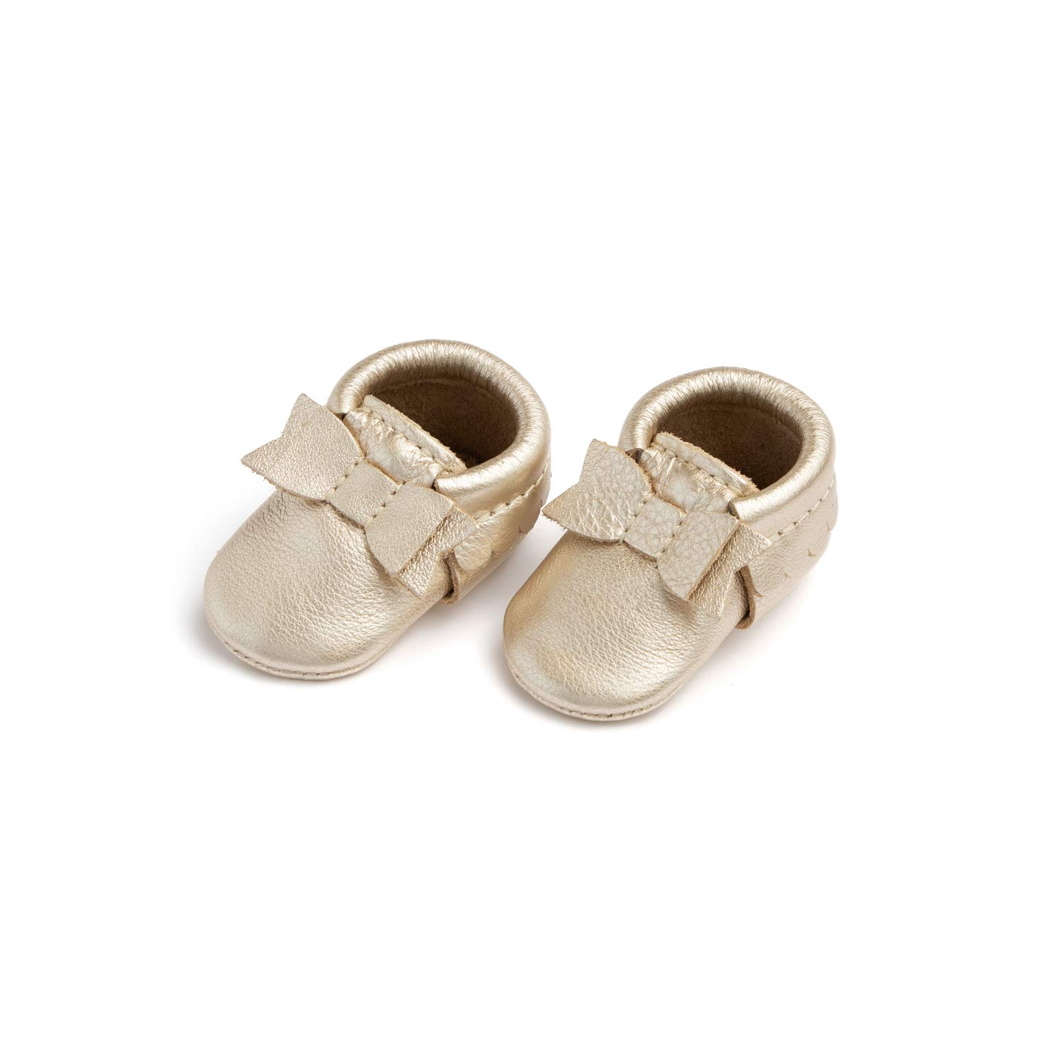 Freshly Picked - Soft Sole Leather Bow Moccasins - Newborn Baby Girl Shoes - Size 0 Platinum Gold by Freshly Picked