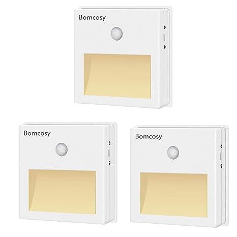 Bomcosy Luz Nocturna LED con Sensor Movimiento sin Cable Encendido/Apagado/Auto Lámpara de