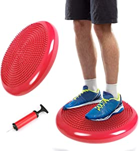 Intsun Inflated Stability Wobble Cushion, Exercise Core Balance Disc Red Fitness Balance Ball Chair with Pump