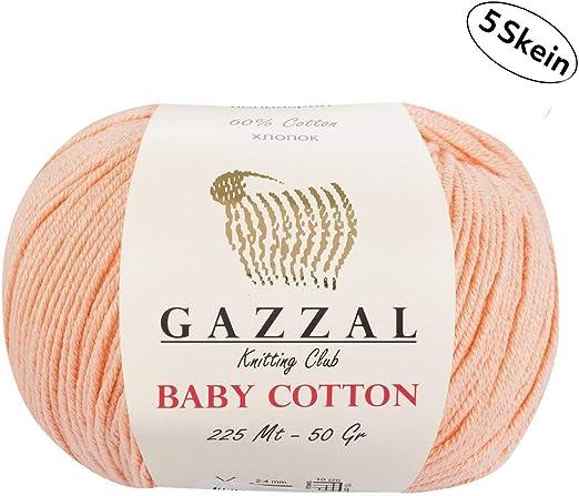 Gazzal Baby Cotton - 5 Ovillos de hilo para tejer 60 % algodón ...