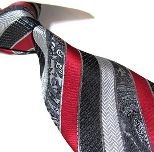 Extra Long Microfibre Tie by Towergem,Red/Gray Polyester XL Men's Necktie 63