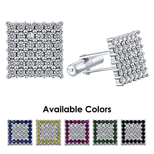 Men's Sterling Silver .925 Original Design Square Cufflinks with Clear Cubic Zirconia (CZ) Stones, Platinum Plated, Secure Solid Hinges, 15 mm - Diamond Link Design