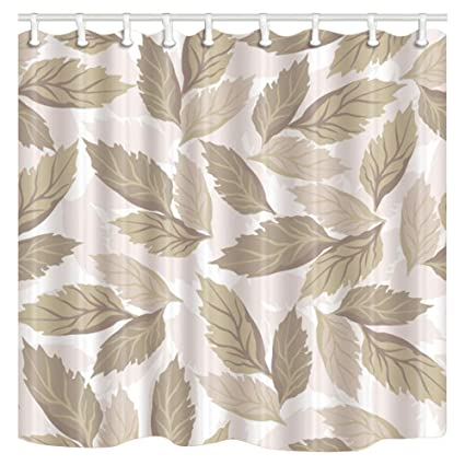 ChuaMi Leaves Shower Curtain Fall And Brown Gray Clover Theme Bathroom Decor Design