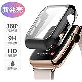 Apple Watch 4/5 44mm ケース 液晶全面保護カバー Apple Watch フィルム ガラスフィルム付きの保護ケース アップル ウォッチ ケース ガラスフィルム フルカバー フィルム付きの一体式ケース PC素材 完全保護 9H硬度 3D曲面技術 高感度 耐指紋 耐衝撃 精密操作 着装まま充電可能 Apple Watch 44mmに専用