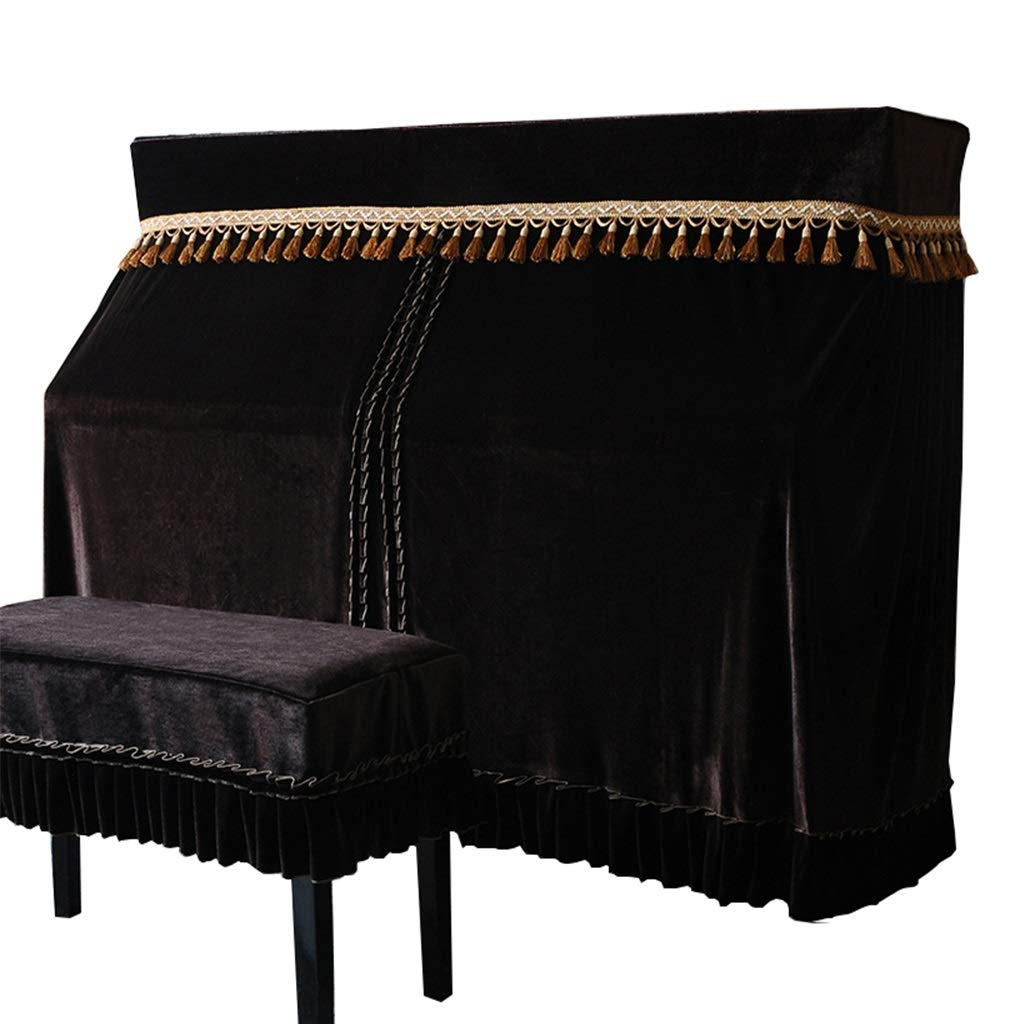 Piano Full Cover, Two Piece Sets Of Gold Velvet Thick Dustproof Soft And Comfortable (Color : Black-153x34x120cm+36x56cm) by GQZ-Piano