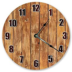 10.5 TAN LIGHTED WOOD WALL BOARDS Clock - Large 10.5 Wall Clock - Home Décor Clock