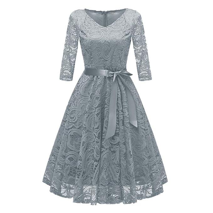 ZARLLE Vestido Bordado CóCtel Mujer De Fiesta De Noche Retro Elegantes 1950S Audrey Hepburn Las Mujeres