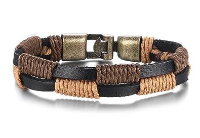 01b030e406df Vnox Envejecido marrón Trenzado Cuerda de Piel auténtica puños Pulsera para  Hombre para Mujer Indian Tribe Estilo  Amazon.es  Joyería