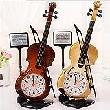 Mismxc Creative Violin Quartz Analog Alarm Clock Desk Decoration Great Gifts for Kids or Music Lovers (Dark Red)