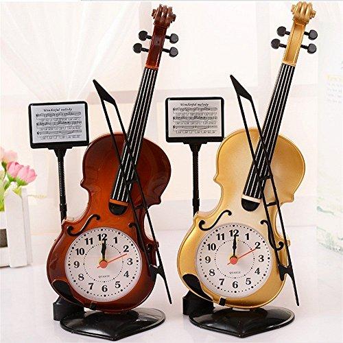 Mismxc Creative Violin Quartz Analog Alarm Clock Desk Dec...