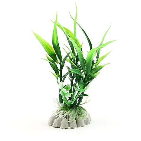 Logres - Adorno para acuario con hojas de bambú artificiales
