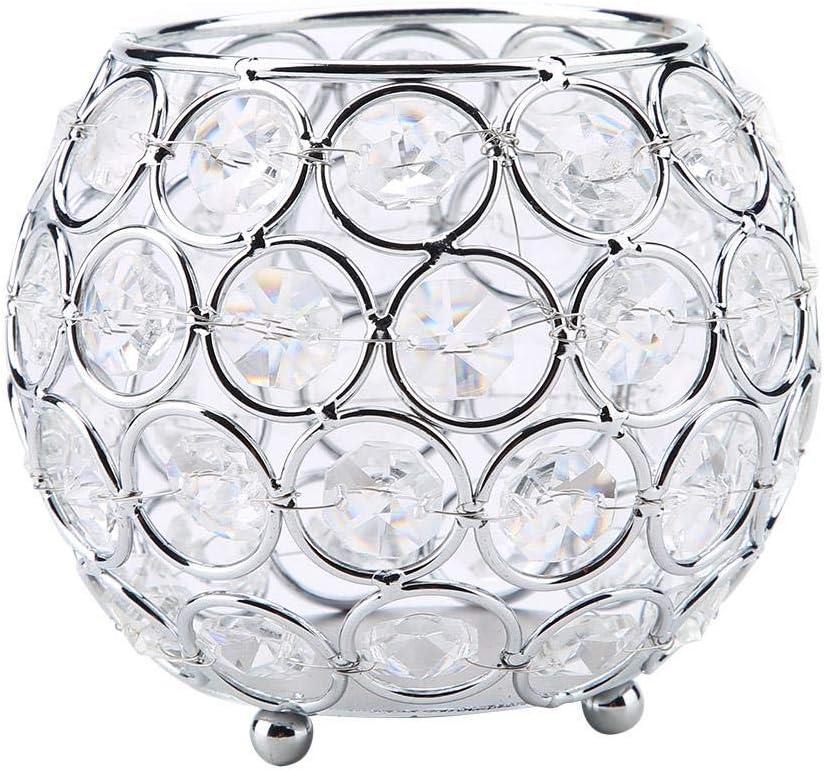 LED/Votive/Tealight Portavelas Decorativo de Cristal Ideal para Bodas Regalos para el Día de la Madre, Fiesta/Decoración del Día de Pascua 10 cm(Plata)