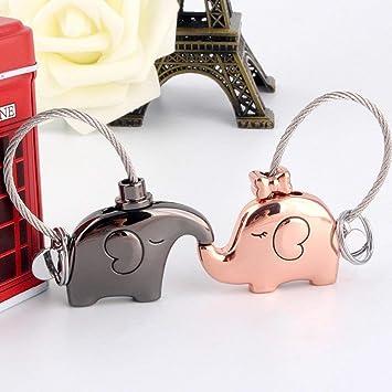 Doux Cadeau pour la Saint-Valentin Couple Or Rose Brillant Noir Suker Porte-cl/és Amant Porte Clef 1 Paire l/él/éphant Porte cl/é pour Les Amis No/ël Anniversaire Mariage