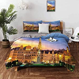 European Cityscape Decor Collection Bedding Duvet Cover 3 Piece Set California King Brussels Citscape with Monument Belgium Avenue Medieval in Gothic Style Print Deco 3 Piece(1 Duvet Cover+2 Pillowcas