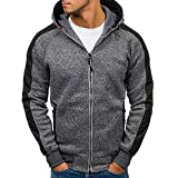 Mens Long Sleeve Blouses Clearance Men's Autumn Patchwork Zipper Hooded Sweatshirt Outwear Tops Blouse By WEUIE(L, Dark Gray)