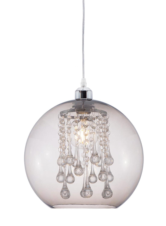 lifestyle4living Deckenleuchte, Deckenlampe, Pendellampe, Wandlampe, Wohnzimmerlampe, Küchenlampe, Esszimmerlampe, Lampe, Leuchte, Kunststoffkugel, rauchgrau