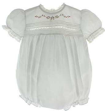 63e5196c19c2 Amazon.com  Infant Girls White Dressy Bubble Outfit Lace Trim ...