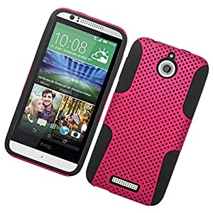 Eagle Cell Hybrid TPU Mesh Protective Case for HTC Desire 510 - Retail Packaging - Black/Hot Pink