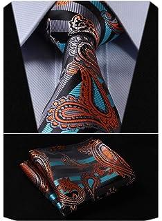 adef7aae8653 HISDERN Paisley Tie Handkerchief Woven Classic Men's Necktie & Pocket Square  Set