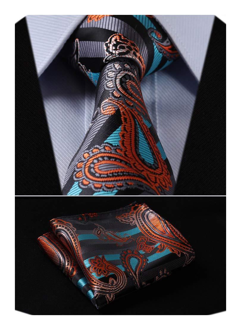 HISDERN Paisley Tie Handkerchief Woven Classic Men's Necktie & Pocket Square Set TP711Q8S-4