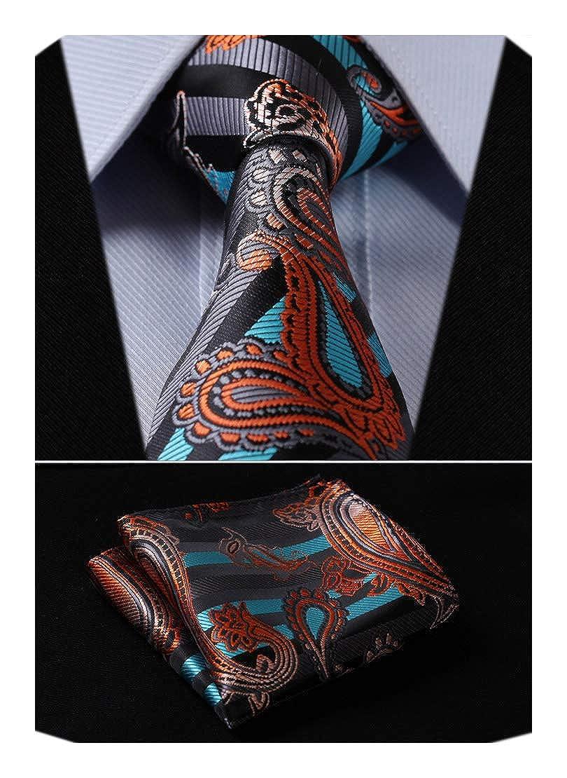 HISDERN Paisley Tie Handkerchief Woven Classic Men's Necktie & Pocket Square Set TP706Q8S-4