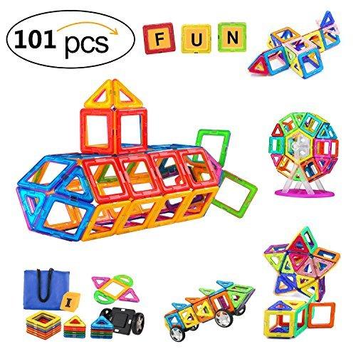 SVOC Magnetic Building Blocks, Magnetic Tiles Educational Toys for Boys/Girls, Stacking Blocks for Toddler/Kids (101Pcs)