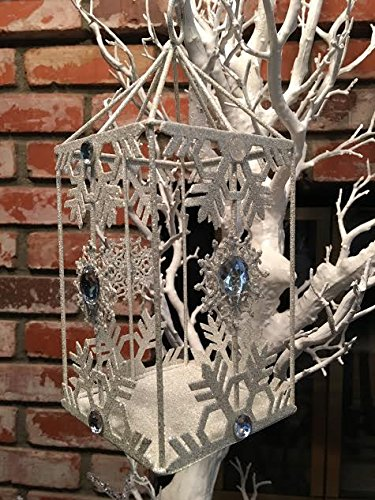 Decorative Silver Glitter Snowflake Hurricane Hanging Candle Holder Lantern for Pillar Candle 9 Inch tall Melange Marche