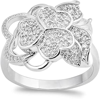 .925 Sterling Silver Infinity Weave Fashion Clear CZ Promise Ring Size 5-10 NEW