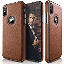 iPhone X Case, LOHASIC Ultra Slim & Thin Premium Leather Luxury PU Soft Flexible Hybrid Defender Bumper Anti-Slip Grip Scratch Resistant Protective Cover Cases for Apple iPhone X 10 - [Brown]