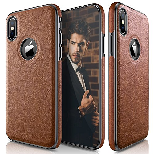Protective Anti Slip Cover (iPhone X Case, Ultra Slim & Thin Premium Leather Luxury PU Soft Flexible Hybrid Defender Bumper Anti-Slip Grip Scratch Resistant Protective Cover Cases for Apple iPhone X 10 - [Brown])