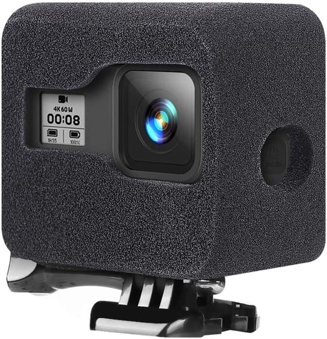 AmandaJ Thickened Sponge Case Black Windshield Housing Noise Reduction For GoPro HERO 8