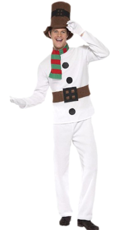 Karnevalsbud - Herren Schneemann Kostüm, Mister Snowman, Weihnachten, M, Weiß